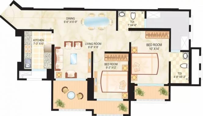 1416 sqft, 2 bhk Apartment in Dosti Ambrosia Wadala, Mumbai at Rs. 63500