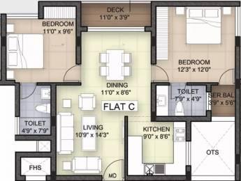 1221 sqft, 2 bhk Apartment in Bhoomi White Rose Thoraipakkam OMR, Chennai at Rs. 1.0000 Cr