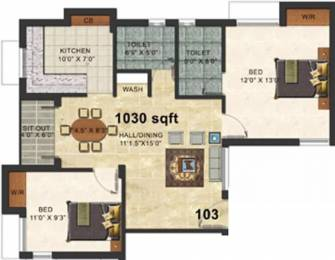 1030 sqft, 2 bhk Apartment in Forsche Elina Choolaimedu, Chennai at Rs. 28000
