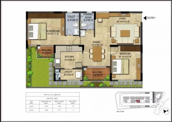 1279 sqft, 2 bhk Apartment in CoEvolve Northern Star Jakkur, Bangalore at Rs. 80.6829 Lacs