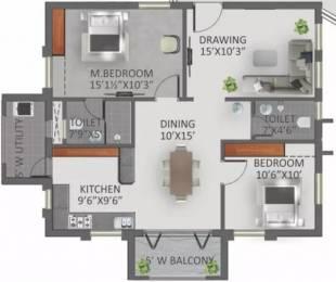 1215 sqft, 2 bhk Apartment in GreenMark Galaxy Apartments Kondapur, Hyderabad at Rs. 48.0000 Lacs