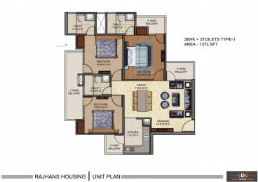 1373 sqft, 3 bhk Apartment in Rajhans Residency Sector 1 Noida Extension, Greater Noida at Rs. 41.1900 Lacs