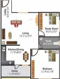 835 sqft, 1 bhk Apartment in Aithena Mannat Koramangala, Bangalore at Rs. 41.7400 Lacs