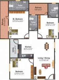 1420 sqft, 3 bhk Apartment in Aithena Mannat Koramangala, Bangalore at Rs. 70.9700 Lacs