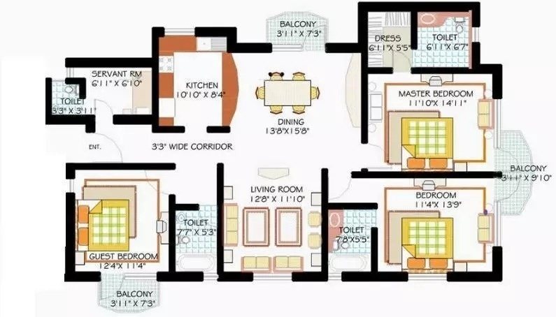 1880 sq ft 3BHK 3BHK+3T (1,880 sq ft)   Servant Room Property By ALFATECH REALTORS In Golf Gardenia, Alpha 2