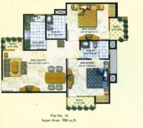 986 sqft, 2 bhk Apartment in Supertech Avant Garde Sector 5 Vaishali, Ghaziabad at Rs. 56.0000 Lacs