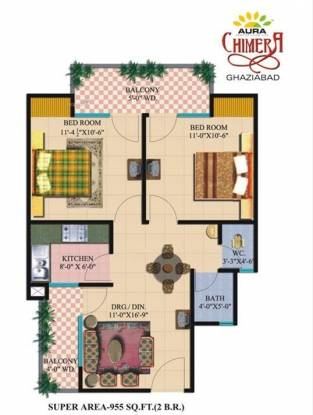 955 sqft, 2 bhk Apartment in Shourya Aura Chimera Raj Nagar Extension, Ghaziabad at Rs. 25.0000 Lacs