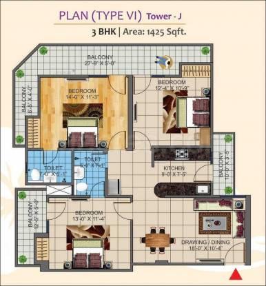 1425 sqft, 3 bhk Apartment in K World Estates Builders KW Srishti Raj Nagar Extension, Ghaziabad at Rs. 46.9000 Lacs