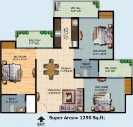 1290 sqft, 3 bhk Apartment in Ajnara Homes Sector 16B Noida Extension, Greater Noida at Rs. 47.0000 Lacs