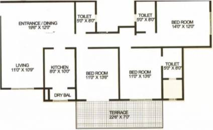 1724 sqft, 3 bhk Apartment in Karia Konark Orchid Wagholi, Pune at Rs. 19000