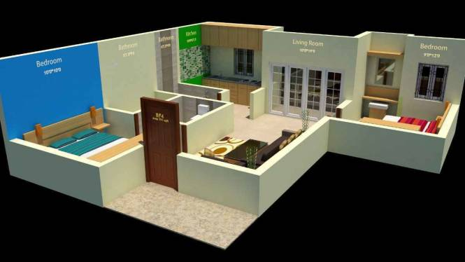 853 sqft, 2 bhk Apartment in Builder keerthi onelliahive Perumbakkam, Chennai at Rs. 49.4500 Lacs