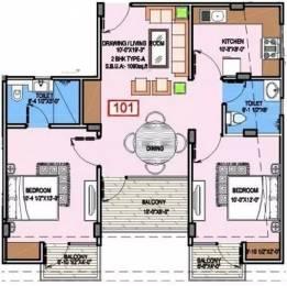 1090 sqft, 2 bhk Apartment in Unique Joy Jagatpura, Jaipur at Rs. 21500