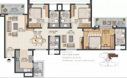 2003 sqft, 3 bhk Apartment in Sobha City Sector 108, Gurgaon at Rs. 1.7000 Cr