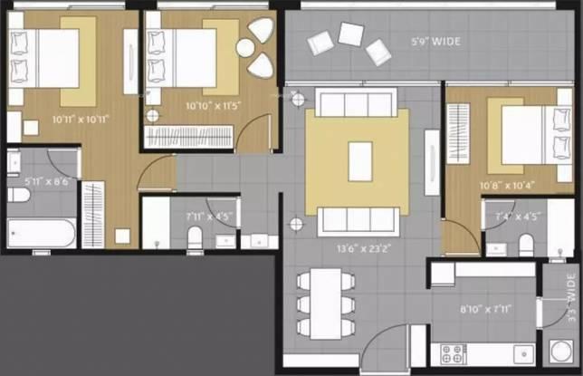 1516 sqft, 3 bhk Apartment in Amanora Future Towers Hadapsar, Pune at Rs. 40000
