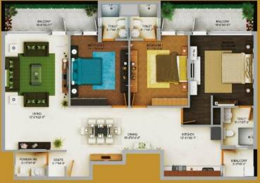 1885 sqft, 3 bhk Apartment in Wave Gardens Sector 85 Mohali, Mohali at Rs. 64.8500 Lacs