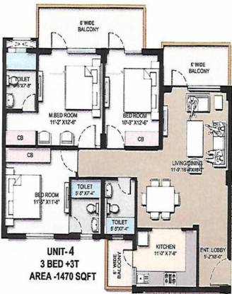 1470 sqft, 3 bhk Apartment in Omaxe The Resort Mullanpur, Mohali at Rs. 45.4200 Lacs