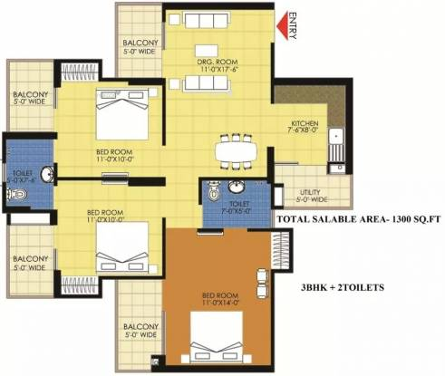 1300 sqft, 3 bhk Apartment in Trident Embassy Sector 1 Noida Extension, Greater Noida at Rs. 42.2000 Lacs