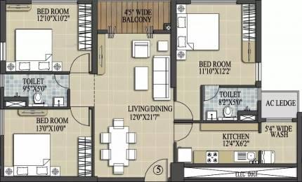 1401 sqft, 3 bhk Apartment in Elita Garden Vista Phase 2 New Town, Kolkata at Rs. 61.2200 Lacs