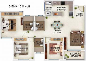 1611 sqft, 3 bhk Apartment in Bren Champions Square Sarjapur Road Post Railway Crossing, Bangalore at Rs. 91.0000 Lacs