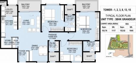 1645 sqft, 3 bhk Apartment in L&T Raintree Boulevard Sahakar Nagar, Bangalore at Rs. 1.1300 Cr