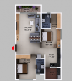 1232 sqft, 2 bhk Apartment in Builder Prime Living Shantinikethan Vijayawada Guntur Highway, Vijayawada at Rs. 55.4400 Lacs
