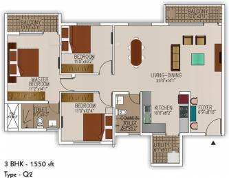 1550 sqft, 3 bhk Apartment in SJR Palazza City Sarjapur Road Wipro To Railway Crossing, Bangalore at Rs. 98.0000 Lacs