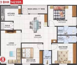 1423 sqft, 3 bhk Apartment in Utkarsha Abodes Madhurawada, Visakhapatnam at Rs. 45.5400 Lacs