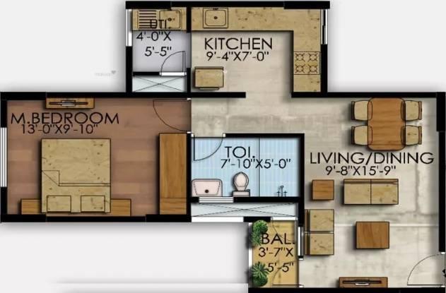 643 sqft, 1 bhk Apartment in Mahaveer Ranches Hosa Road, Bangalore at Rs. 43.0800 Lacs