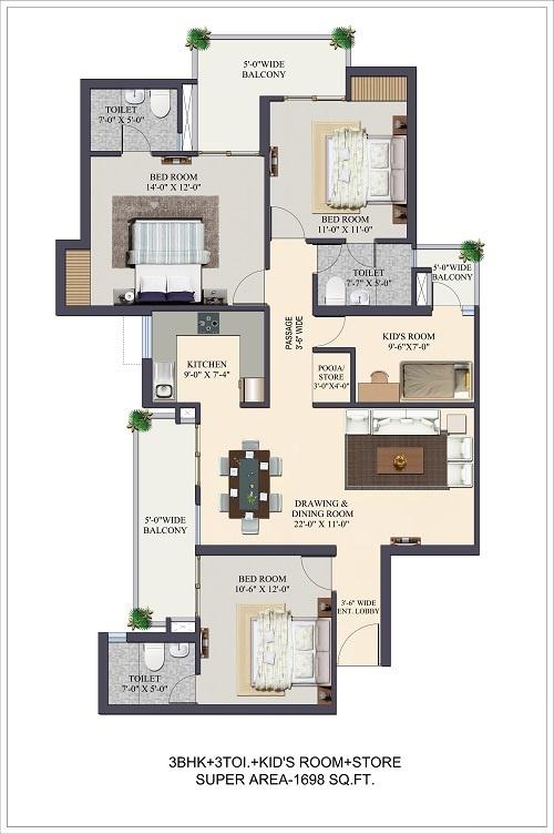 1698 sq ft 3BHK 3BHK+3T (1,698 sq ft) + Study Room Property By Ajmani Estates In The Kremlin, Pratap Vihar