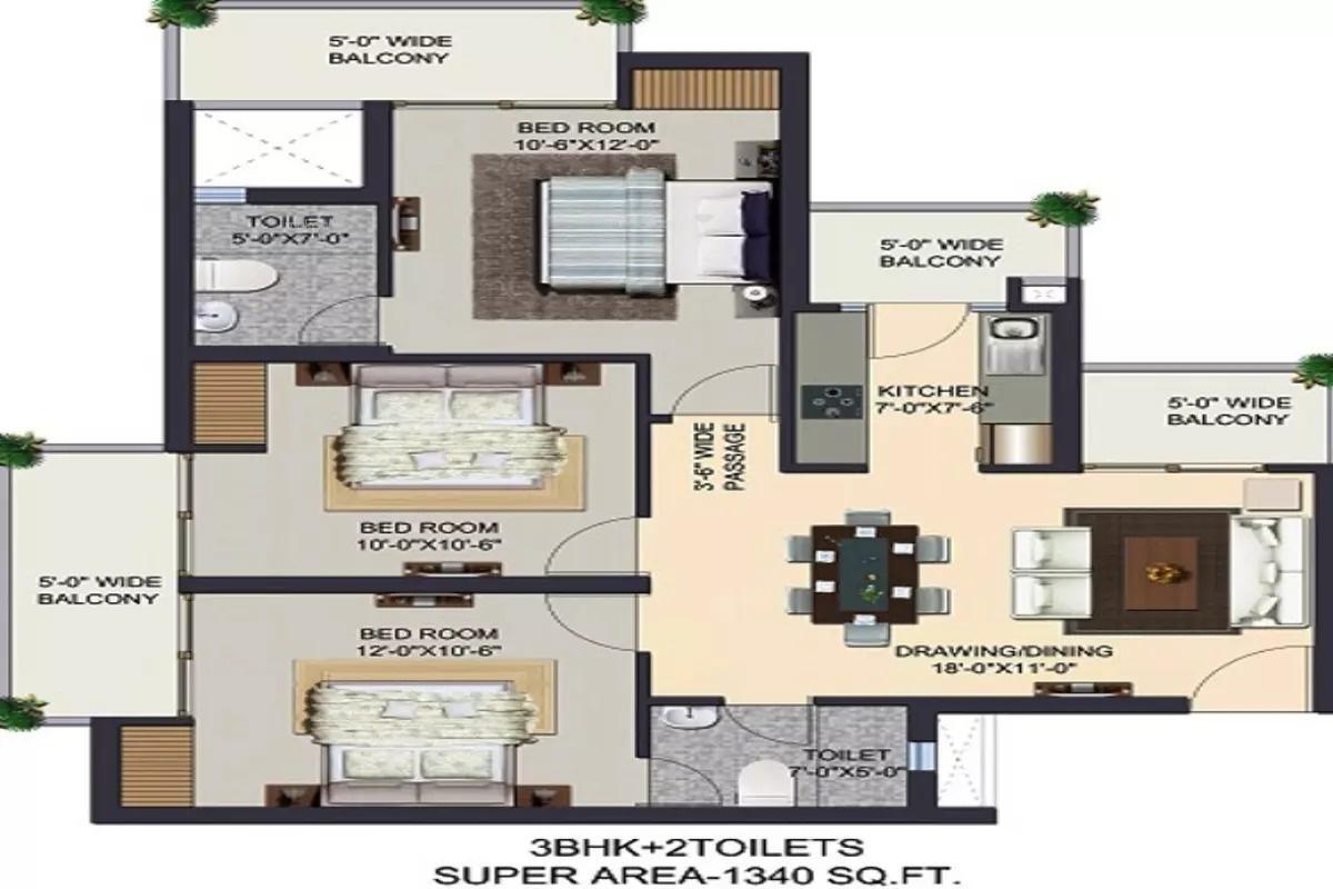 1340 sq ft 3BHK 3BHK+2T (1,340 sq ft) Property By Ajmani Estates In The Kremlin, Pratap Vihar