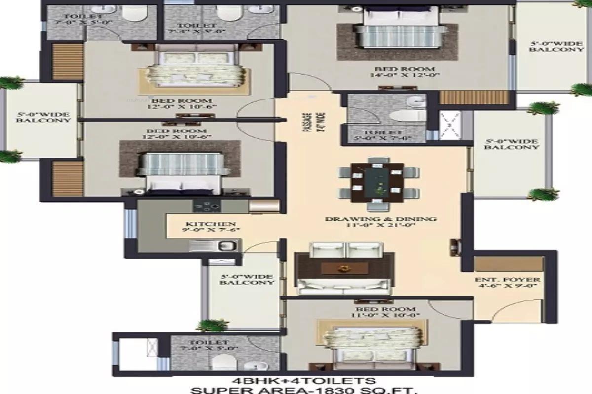 1830 sq ft 4BHK 4BHK+4T (1,830 sq ft) Property By Ajmani Estates In The Kremlin, Siddhartha Vihar