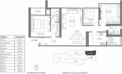 1862 sqft, 3 bhk Apartment in TATA 88 East Alipore, Kolkata at Rs. 3.0000 Cr