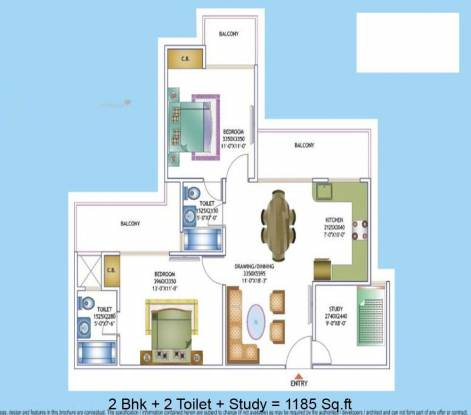 1185 sqft, 2 bhk Apartment in Maxblis White House II Sector 75, Noida at Rs. 59.0000 Lacs