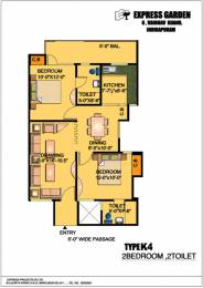 1075 sqft, 2 bhk Apartment in Express Garden Vaibhav Khand, Ghaziabad at Rs. 56.0000 Lacs