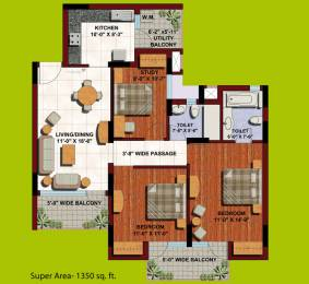 1350 sqft, 2 bhk Apartment in ABA Orange County Ahinsa Khand 1, Ghaziabad at Rs. 87.0000 Lacs