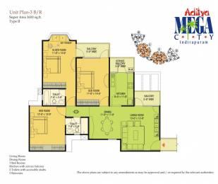 1610 sqft, 3 bhk Apartment in Agarwal Aditya Mega City Vaibhav Khand, Ghaziabad at Rs. 75.0000 Lacs