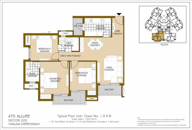 1350 sqft, 3 bhk Apartment in ATS Allure Sector 22D Yamuna Expressway, Noida at Rs. 39.8250 Lacs