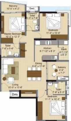 1492 sqft, 3 bhk Apartment in KG Chandra Vista Sholinganallur, Chennai at Rs. 94.8300 Lacs