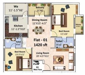 1420 sqft, 2 bhk Apartment in Laa Moon Stone Electronic City Phase 1, Bangalore at Rs. 24000