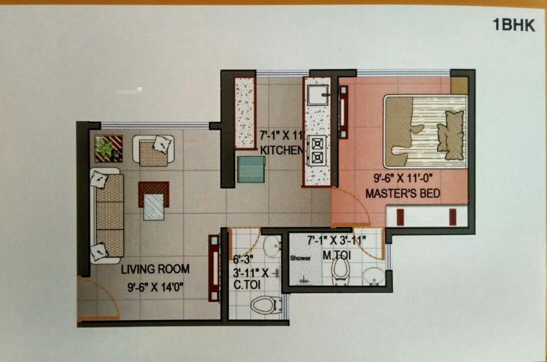 638 sq ft 1BHK 1BHK+2T (638 sq ft) Property By R R Propertiees In Project, Kandivali West