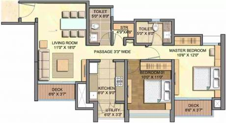 1197 sqft, 2 bhk Apartment in Lodha Aurum Grande Kanjurmarg, Mumbai at Rs. 49000