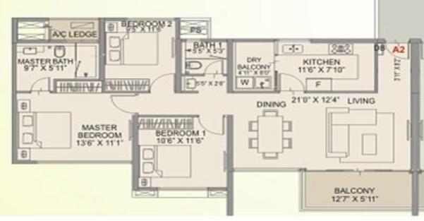 1950 sqft, 3 bhk Apartment in Amanora Aspire Towers Hadapsar, Pune at Rs. 1.0700 Cr
