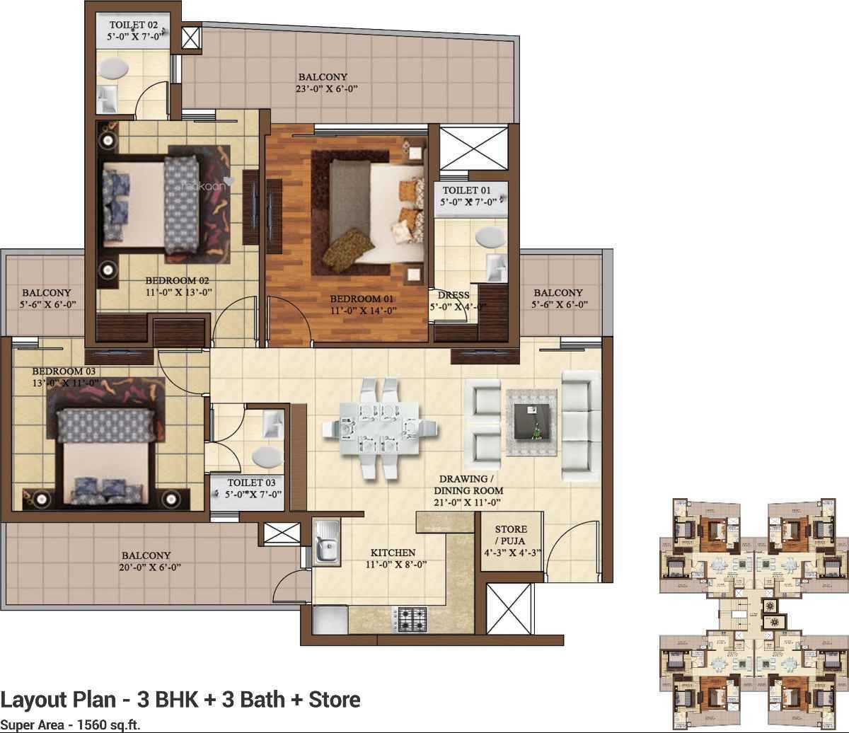 1560 sq ft 3BHK 3BHK+3T (1,560 sq ft) + Store Room Property By Nirmaaninfratech In hermitage pARK, Dhakoli Zirakpur