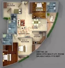 1715 sqft, 3 bhk Apartment in ASGI ASG Apple 7 Crossing Republik, Ghaziabad at Rs. 55.0000 Lacs