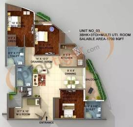 1700 sqft, 3 bhk Apartment in ASGI ASG Apple 7 Crossing Republik, Ghaziabad at Rs. 53.0000 Lacs
