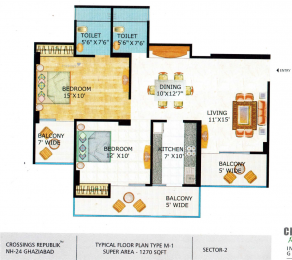 1270 sqft, 2 bhk Apartment in Crossings GH7 Crossings Republik Vijay Nagar, Ghaziabad at Rs. 7500