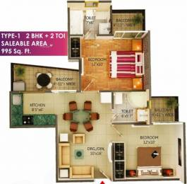 995 sqft, 2 bhk Apartment in MSS Bliss Homes Govindpuram, Ghaziabad at Rs. 27.2100 Lacs