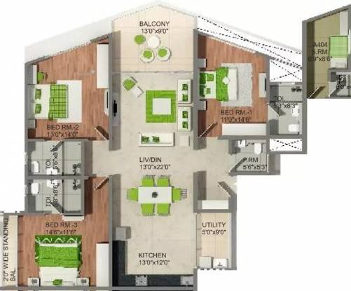 2085 sqft, 3 bhk Apartment in Naiknavare Eminence Viman Nagar, Pune at Rs. 2.5700 Cr