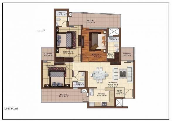 1560 sqft, 3 bhk Apartment in Paradigm The Hermitage Park Dhakoli, Zirakpur at Rs. 51.2000 Lacs