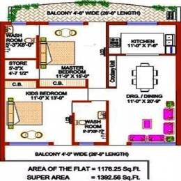 1392 sqft, 2 bhk Apartment in Trishla Plus Homes Sector 20, Panchkula at Rs. 35.0000 Lacs